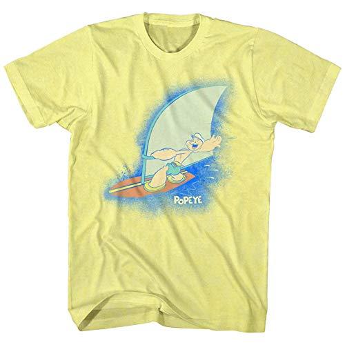 American Classics Popeye mann cartoon, comic wimpy essenwettbewerb T-shirt für Herren Klein Gelb