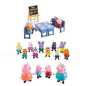 iDream Kid's PVC Peppa Pig Family & Friends with Classroom Setup