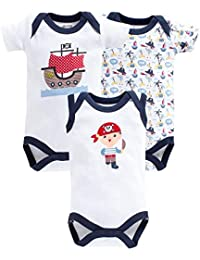 c426b59bef58 Spring Bunny Boys Cotton Baby Sailor Boat Print Onesies - Pack of 3 in  White Color