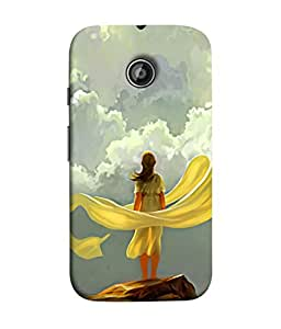 PrintVisa Designer Back Case Cover for Motorola Moto E2 :: Motorola Moto E Dual SIM (2nd Gen) :: Motorola Moto E 2nd Gen 3G XT1506 :: Motorola Moto E 2nd Gen 4G XT1521 (Beautiful Poster Girl Stand Alone On Stone Grass )