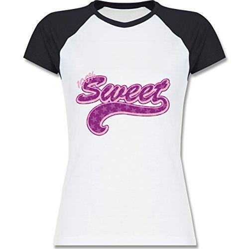 Typisch Frauen - 100% Sweet - zweifarbiges Baseballshirt / Raglan T-Shirt für Damen Weiß/Navy Blau