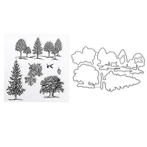 Xurgm Bäume Stanzschablonen mit Stempel Scrapbooking Stanzmaschine Schablonen Stanzformen, Stanzmaschine Stanzschablone für DIY Scrapbooking Fotoalbum Dekor Karten