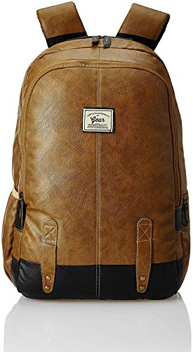 GEAR Classic Anti Theft Faux Leather 20 Ltrs Tan Laptop Backpack  LBPCLSLTH1901  Laptop Backpacks