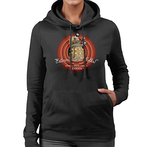 Loony Toons Doctor Who Exterminate All Folks Women's Hooded Sweatshirt Black