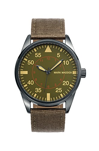 Mark Maddox Men's Quartz Watch with Green Dial Analogue Display and Brown PU Strap HC0006-64