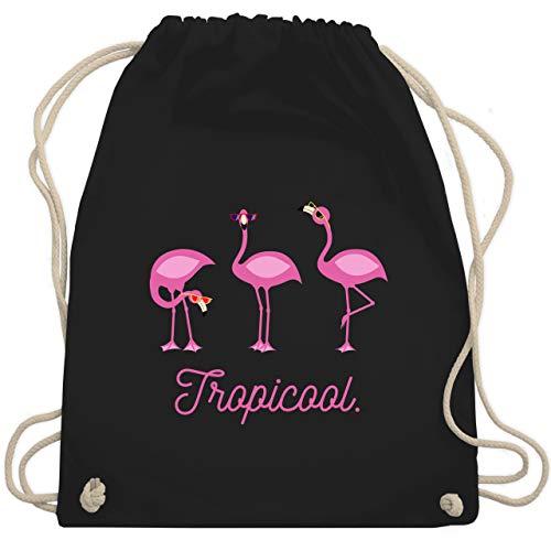 Vögel - Tropicool Flamingo Gang - Unisize - Schwarz - WM110 - Turnbeutel & Gym Bag