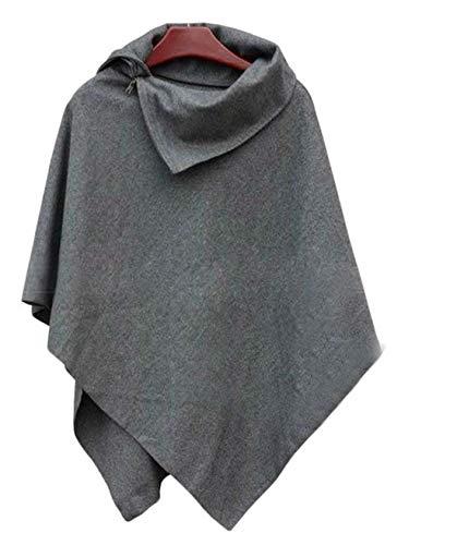 2018 New Women Loose Batwing Sleeve Long Poncho Cape Irregular Hem Solid Woolen Plus Size Coat Shawl Gray L