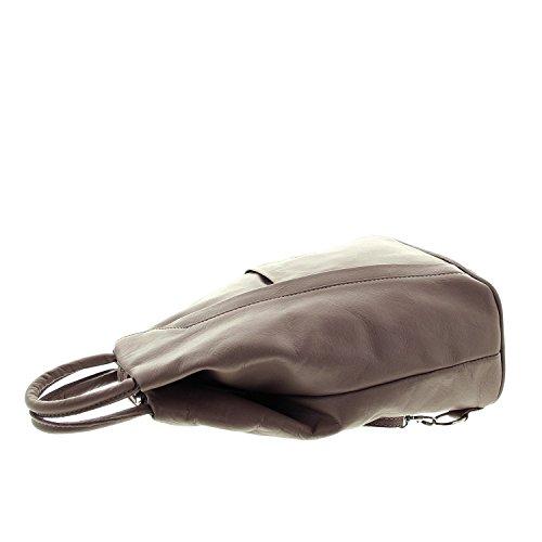 IO.IO.MIO leichter echt Leder Damenrucksack CityRucksack DayPack freie Farbwahl , 27-18x30x13 cm (B x H x T) dunkeltaupe