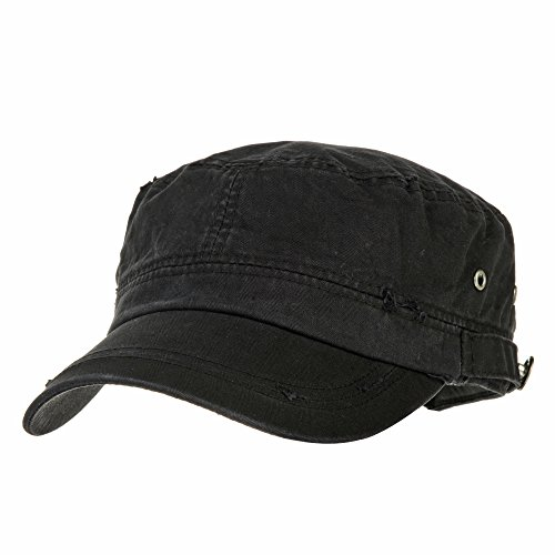 f9461fcdad WITHMOONS Cappello Militare Cadetto Cadet Cap Cotton Vintage Distressed  Washed Hat CR4267 (Black)