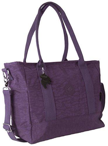 Big Hanbag Shop, Gr. XL, 3-fach, Shopper, Handtasche, Umhängetasche Purple (BG101)