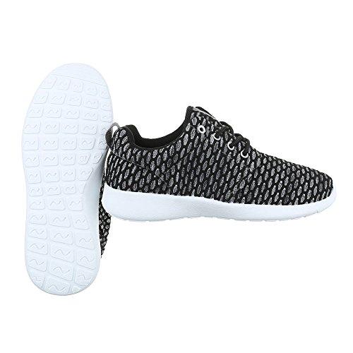 Low-Top Sneaker Damenschuhe Low-Top Sneakers Schnürsenkel Ital-Design Freizeitschuhe Schwarz Grau SW15715
