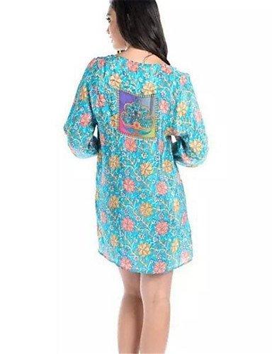 PU&PU Robe Aux femmes Ample Street Chic,Imprimé Col en V Au dessus du genou Nylon BLUE-M