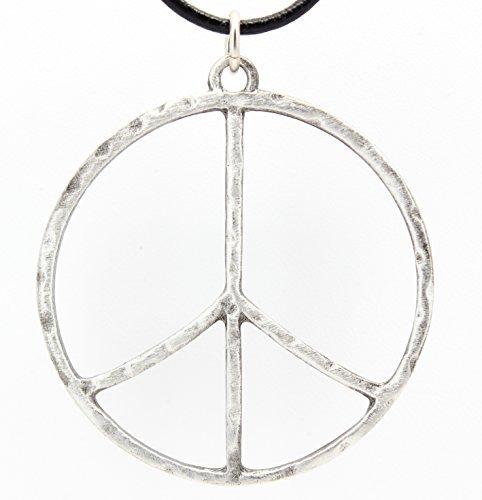 Gehämmert Peace Zeichen groß Anhänger auf Leder Halskette ()