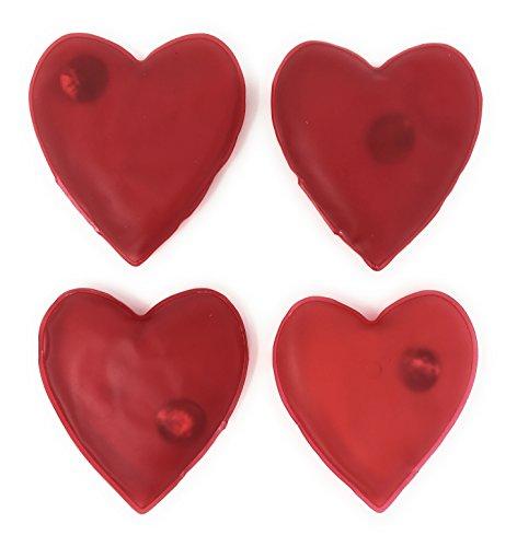 MC-TREND® 4er Set Handwärmer Taschenwärmer Herz für warme Finger gegen kalte Hände im Herbst und Winter, wiederverwendbar