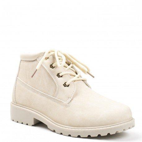 Ideal Shoes - Bottines style randonnée Milia Beige