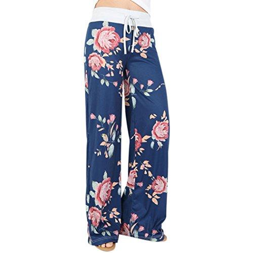 Strickjacke & Wide-leg-pants (Bekleidung Longra Damen Casual Hosen Jogginghose Blumendrucke Drawstring Wide Leg Hose Leggings (L/Waist:75~78cm/29.5