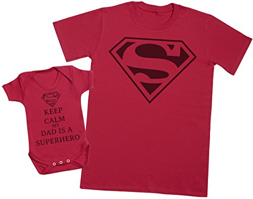 Keep Calm Dad Is A Super Hero - regalo para padres y bebés en un cuerpo para bebés y una camiseta de hombre a juego - Rojo - Large & 0-3 meses