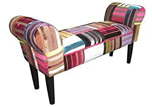 deko sitz bank design sienna motiv patchwork bezug aus samt bunt rot gepolstert dunkle. Black Bedroom Furniture Sets. Home Design Ideas