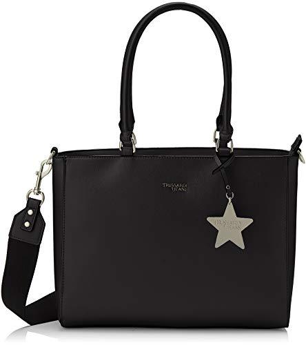 Trussardi Jeans Damen T-Easy Tote Charm Star Logo Bag, Schwarz (Nero), 35x28x14 centimeters - Denim Tote Bag Handtasche