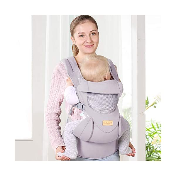 Ergonomic Baby Carrier with Adjustable Hipseat,for M Position,is The Benefits of improving Blood Circulation-Soft Baby Carriers with Front and Back Positions for Infants to Toddlers,Up to 60lbs,Grey tiancaiyiding ❤ Ergonomic Design: Wide and thick backpack straps help relieve stress . Easy to put on or take off. ❤ M shape Position: Stop hurting your baby's legs. Keep blood circulation in normality. ❤ All-round Support: Simple and thus strong structure. 360° wraps the baby against falling out. Collapsible hood for wind and sun protection 7