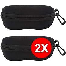 TBOC Funda Rígida Gafas de Sol - [Pack 2 Unidades] Estuche Negro Ligero con