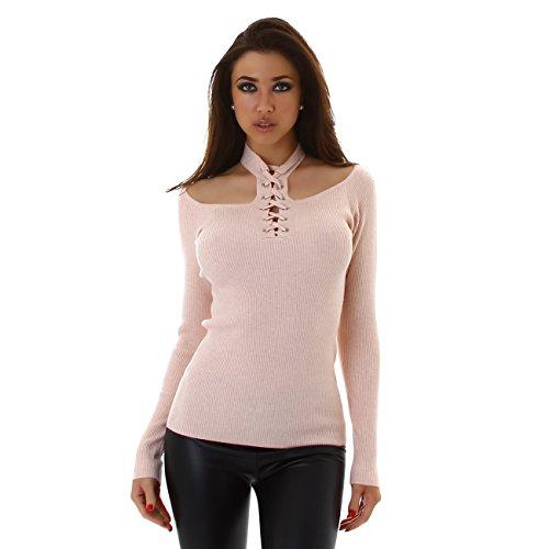 VOYELLES Damen Top, Langarmshirt mit Carmenausschnitt und Halsband, 34-38 Uni-Farben Rosa