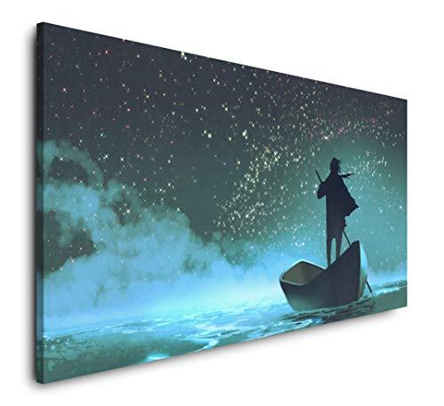 Paul Sinus Art Mann im Boot 120x 60cm Panorama Leinwand Bild XXL Format Wandbilder Wohnzimmer Wohnung Deko Kunstdrucke