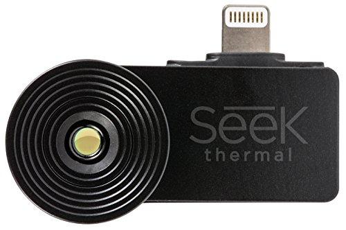 Seek Thermal Compact Wärmebildkamera Nachtsichtkamera Thermal Imaging Camera mit Lightning Anschluss und Wasserdichtem Schutzgehäuse Kompatibel mit Apple iOS Smartphones - Schwarz