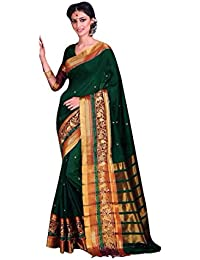 Craftsvilla Women's Poly Cotton Double Embroidered Border Green Saree With Unstitched Blouse Piece