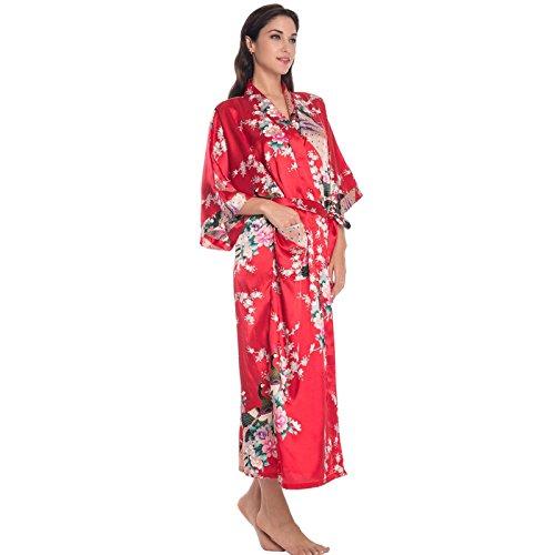 Femmes Robe longue Robe kimono vinaigrette Rouge