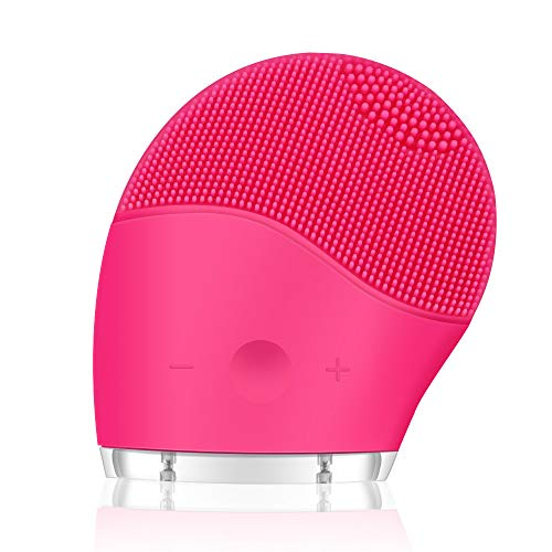 Gesichtsreinigungsbürste Silikon elektrisch Gesichtsbürste tragbar ultraschall Vibration Wasserfest Anti-Aging Porenreinigen Reinigungsbürste Sonic Vibration für Alle Hauttype(Fuchsia)