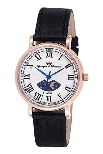Yonger & Bresson DCR1696-01-Orologio da donna, analogico, al quarzo, con quadrante argentato e cinturino in pelle nera