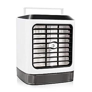 Mini Luftkühler, Tragbare Klimaanlage, 3 in 1 Air Cooler (Klimagerät Ventilator Luftreiniger Luftbefeuchter), Mobile Klimaanlage mit 3 Geschwindigkeiten, 7 Einstellbaren LEDs und USB-Verbindung