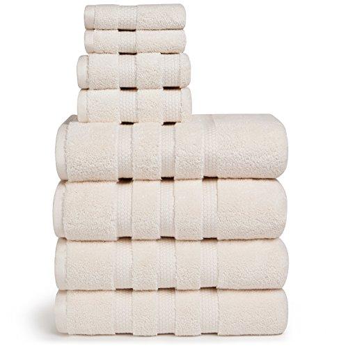 Vivendi Infinity Zero Twist 100% Baumwolle 8-Teiliges Handtuch Set, 4Bad, 2Hand, 2Wash Gebrochenes Weiß Infinity Twist