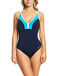 Zoggs Women's Garie Clip Back Adjustable Strap With Foam Cups and Tummy Control One Piece Swimsuit