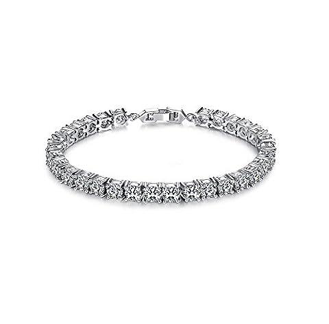 TIZIKJ Platinum Full Diamond Zircon Bracelet Wedding Birthday
