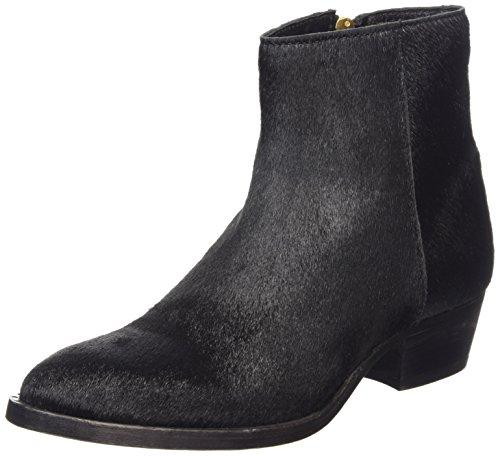 Fred de la Bretoniere Fred 13cm zipper booty 4cmblockheel Istanbul leather sole, Stivali classici imbottiti a gamba corta donna, Nero (Schwarz (Black 002)), 38