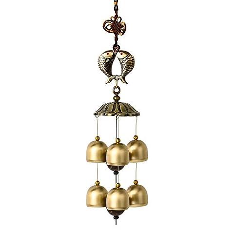 Ornement Wind Chimes Cloches Lucky Bell Metal rétro ornements en cuivre pur porte Pendentif ornements pour Accueil balcon,Koi