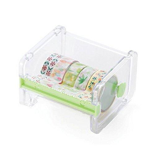 Cortador de cinta de escritorio, caja de almacenamiento, transparente, dispensador de cinta de papel, estuche de almacenamiento, para bricolaje, rollo de cinta adhesiva, soporte de almacenamiento 10.3*9.1*7.1cm verde