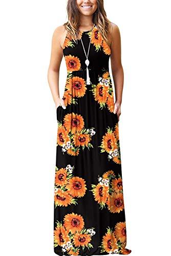 Bequemer Laden Damen Sommer Casual Blumen Ärmellos Lose Plain Lange Maxikleider mit Taschen Schwarz Sonne Blumen S (Blumen-sonne-kleid)