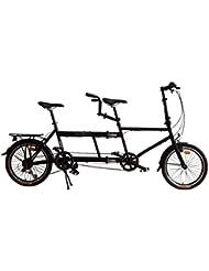 """Ecosmo 20TF01BL Bicicleta tándem plegable de 20"""", 7 velocidades"""