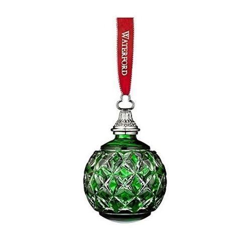 2016 Waterford Annual Green Cased Ball Crystal Christmas Ornament Decoration New by Waterford -
