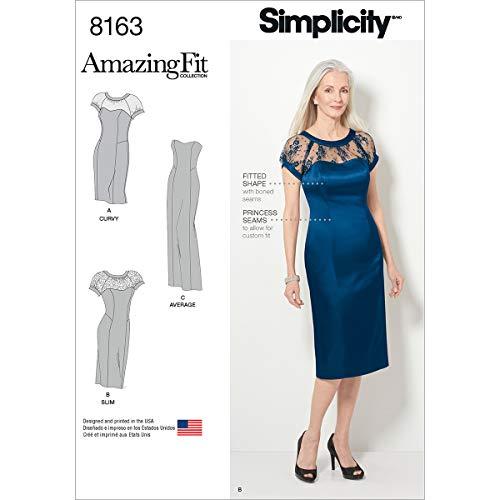 Simplicity Muster 8163Miss und Plus Amazing Fit besonderen Anlass Kleid, weiß