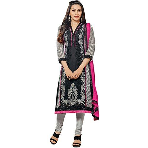 Vasu Saree Perfect Karishma Kapoor Hot Pink & Black Festival Churidar Salwar Suit-40006  available at amazon for Rs.2112