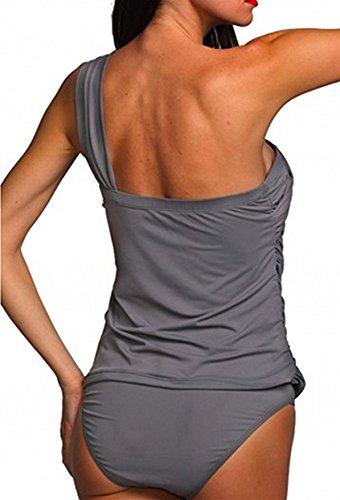 Summer Mae Damen Tankini-Set eine Schulterfrei Bademode Figurformender Grau