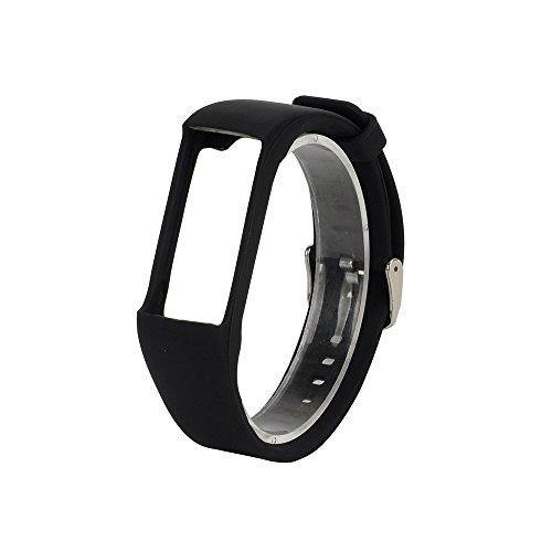 BZLine® Silikon Rubber Watch Band Sportarmband für Polar A360 Smart Watch (Schwarz)