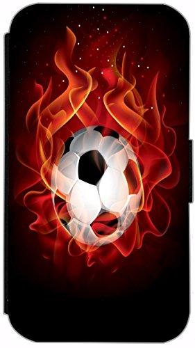 Flip Cover für Apple iPhone 4 / 4s Design 749 Fußball in Flammen Feuer Rot Schwarz Hülle aus Kunst-Leder Handytasche Etui Schutzhülle Case Wallet Buchflip (749) 749