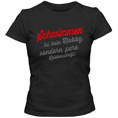 Schwimmen T-Shirt | Schwimm-Shirt | Profischwimmer | Wassersport | Frauen | Shirt © Shirt Happenz Schwarz (Deep Black L191)