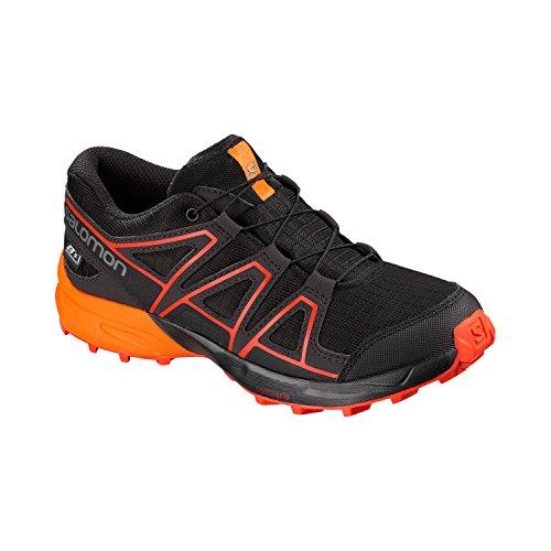 Salomon Kinder Trail Running Schuhe Speedcross CSWP J Black/Tangelo/Cherry Tomato 34