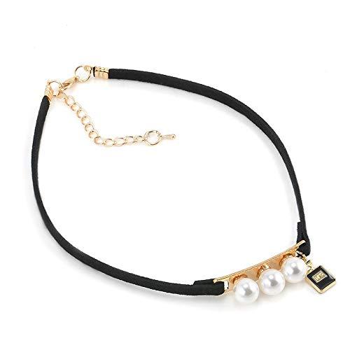 JMZDAW Halskette Anhänger Schwarz Gestreiften Kragen Von Pearl Halskette Halskette Twisted Frauen Schmuck Halskette Und Anhänger -